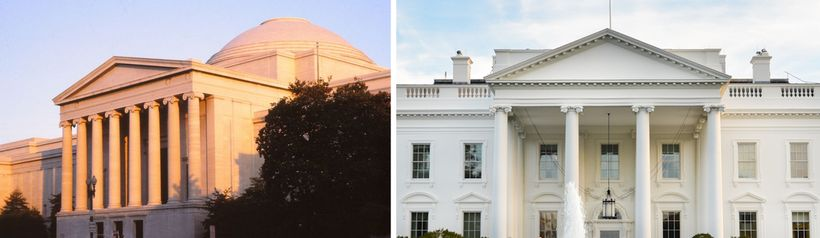 """Neoclassical"" buildings. L: West Wing, National Gallery of Art, Washington, DC. R: The White House."