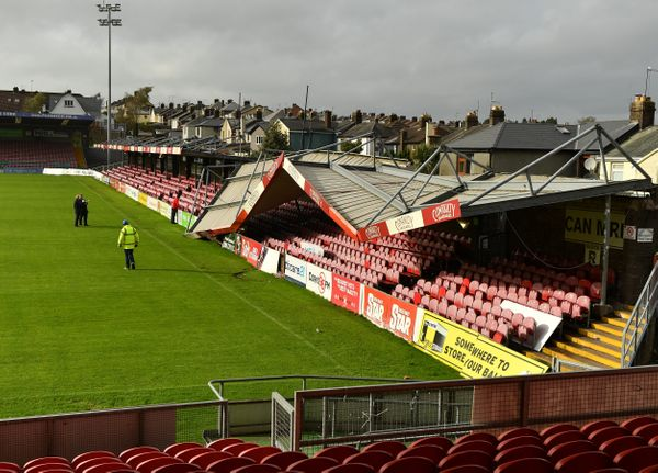 A view of the damage to the Derrynane Stand at Turners Cross Stadium.