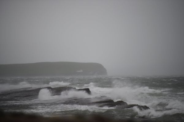 Storm Ophelia whips up the sea as it makes landfall along County Clare peninsula of Loop Head, Ireland October 16, 2017.&nbsp
