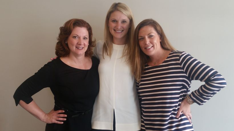 Chicago participant Jill Stewart (Haworth) poses with DC Participants Julie Vachon (Humanscale) and Courtney MacFarlane (OFS