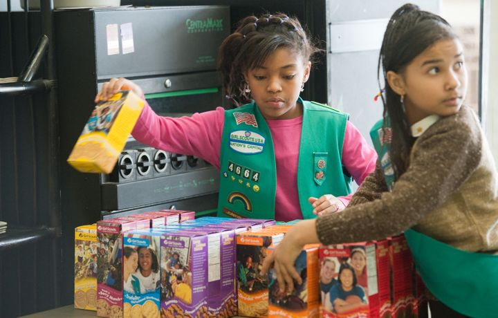 Girl scouts sell cookies at Freeman's Barber Shop in Upper Marlboro, MD. February 26, 2011.