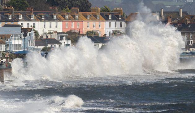 Waves whipped up by Hurricane Ophelia crashin Cornwall, England, on Oct. 16,