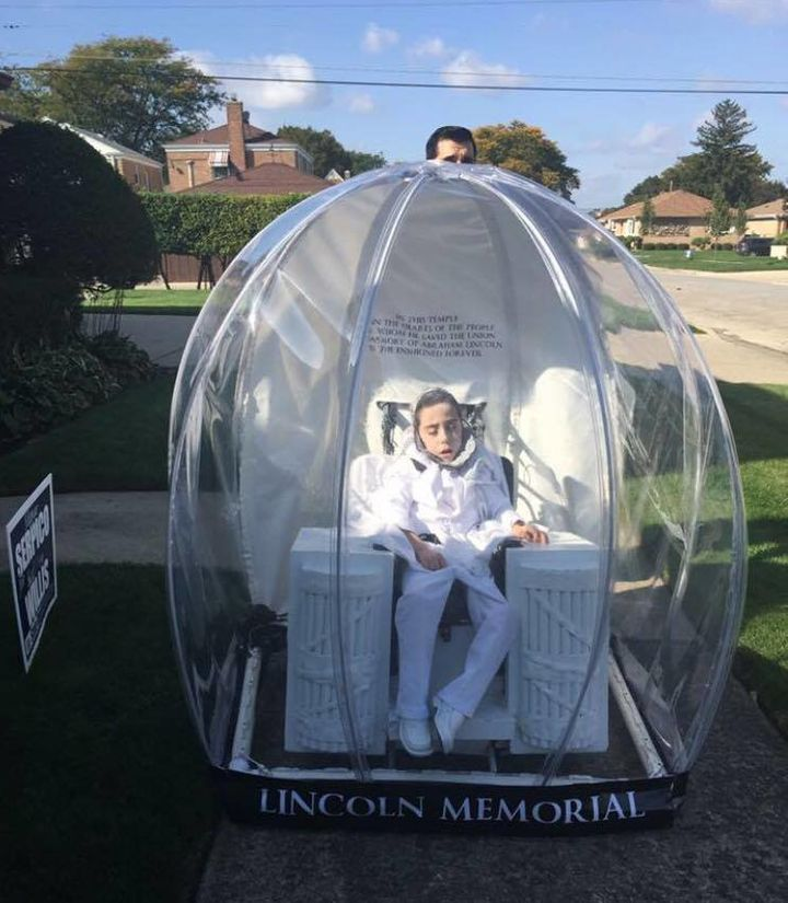 anthony dressed up as a lincoln memorial snow globe for halloween last year
