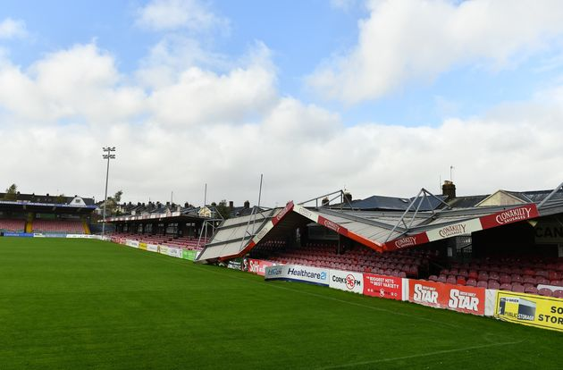 Turners Cross Stadium in Cork, Ireland, was damaged due to Storm