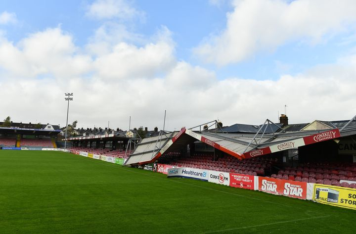 Turners Cross Stadium in Cork, Ireland, was damaged due to Storm Ophelia.