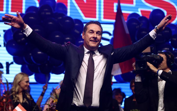 Head of far-right Freedom Party Heinz-Christian Strache attends his party meeting after Austria's general election.