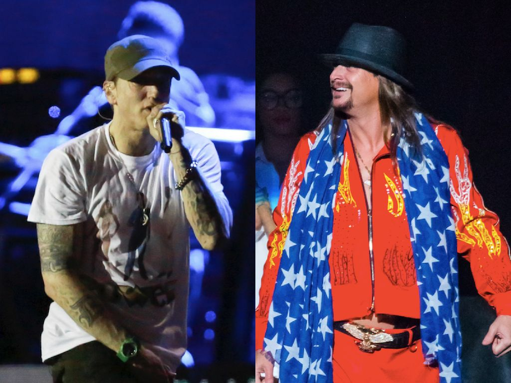 Eminem, left, and Kid Rock, right, both proudly represent Detroit. Politically, they have very different ideas.