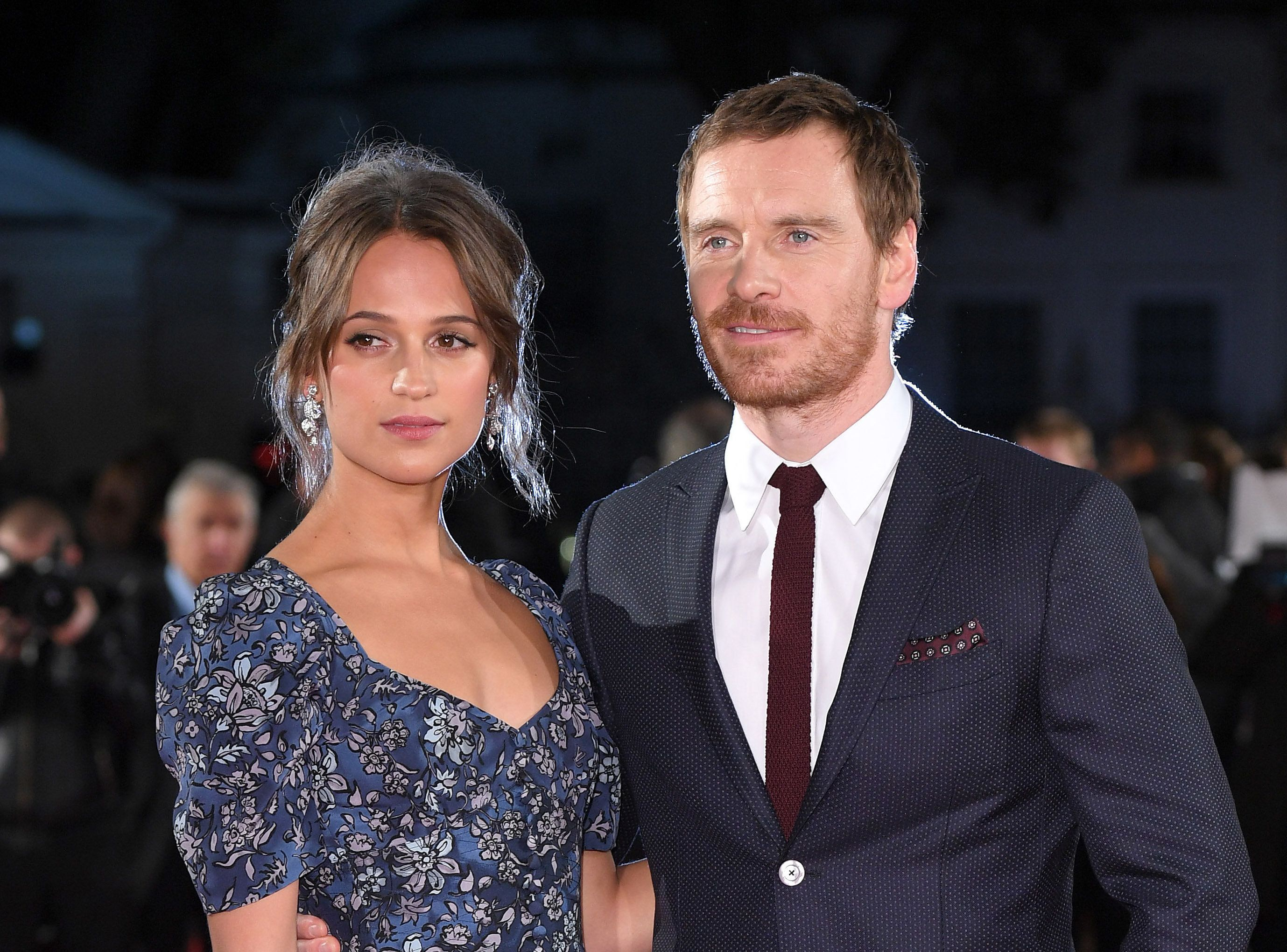 LONDON, ENGLAND - OCTOBER 19:  Alicia Vikander and Michael Fassbender arrive for the UK premiere of 'The Light Between Oceans' at The Curzon Mayfair on October 19, 2016 in London, England.  (Photo by Karwai Tang/WireImage)