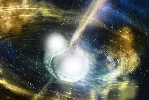 An artist's rendering of two merging neutron stars depicts gravitational waves rippling outward, while...