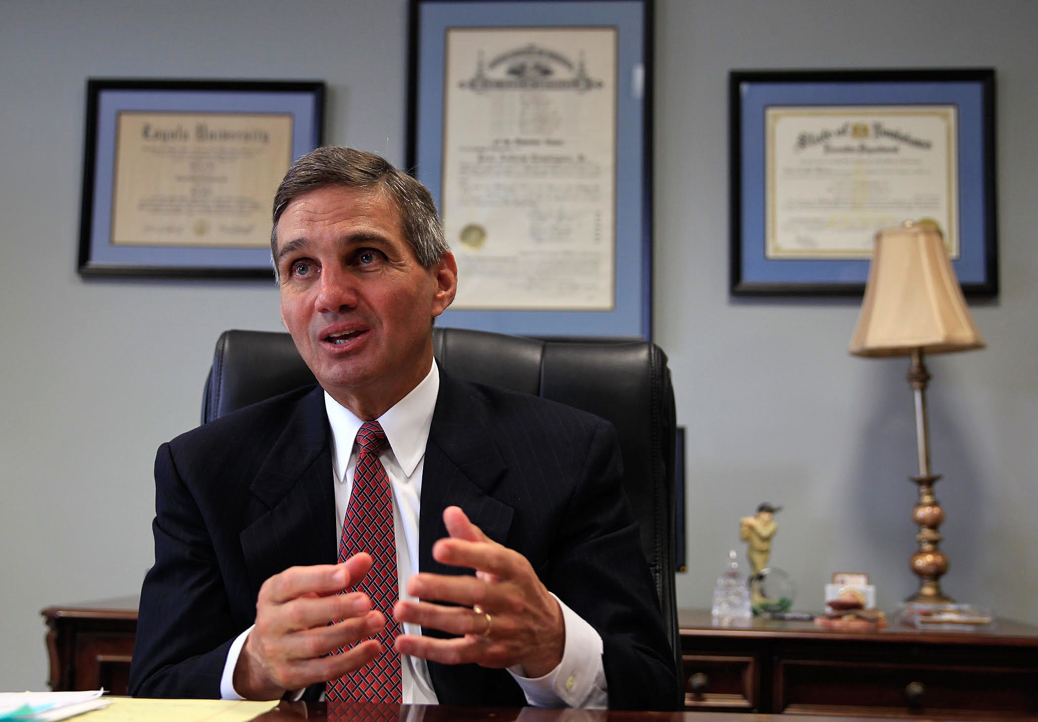 Orleans Parish District Attorney Leon Cannizzaro is interviewed about the Darren Sharper plea deal from his office, Monday, April 6, 2015. (Photo by Ted Jackson, Nola.com | The Times-Picayune)