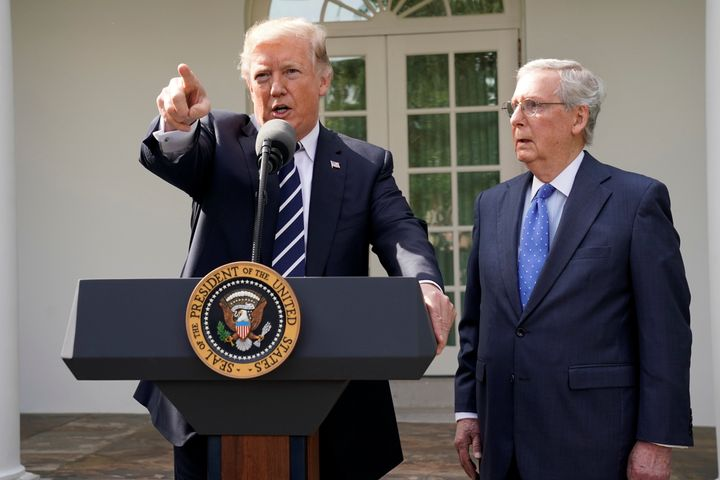 President Donald Trump speaks to the media with Senate Majority Leader Mitch McConnell at his side in the White House's Rose
