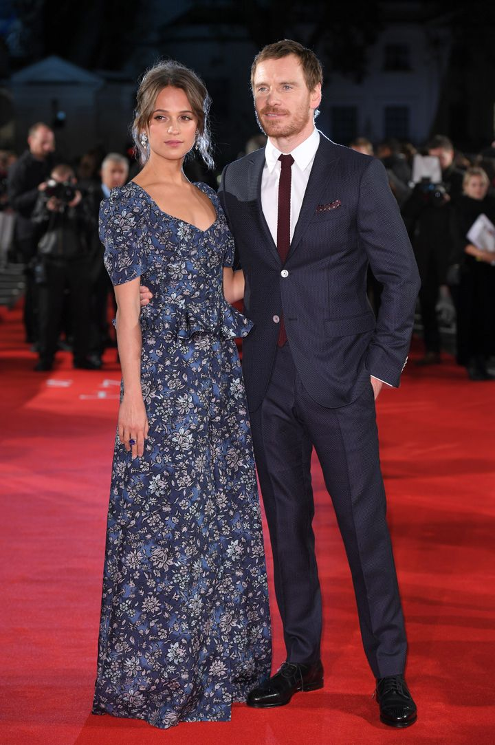 Alicia Vikander and Michael Fassbender arrive for the premiere of