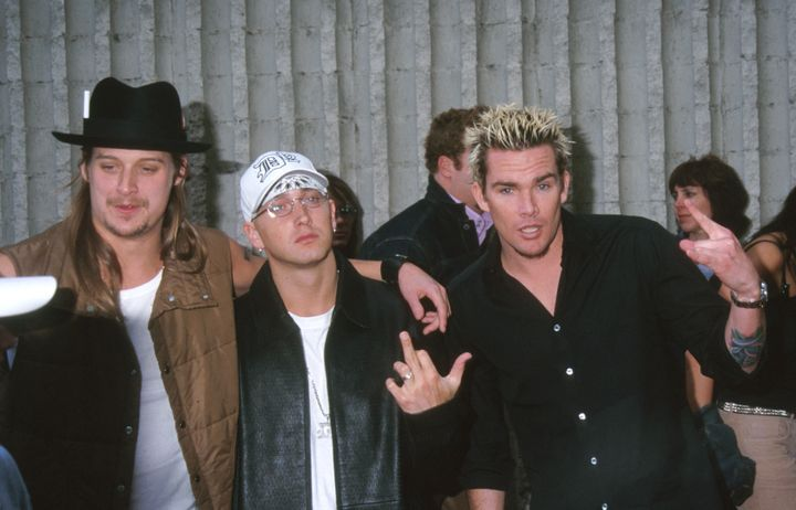 Kid Rock and Eminem appear at the premiere of 2001's