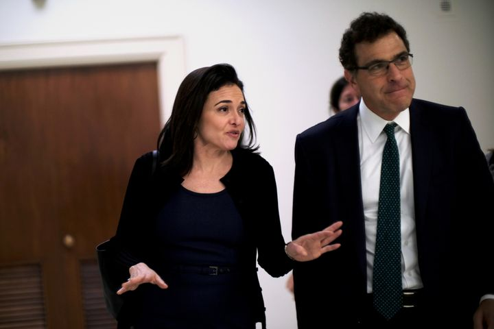 Sheryl Sandberg, Facebook's chief operating officer,and Elliot Schrage, its vice president of global communications and public policy, meet with lawmakers on Capitol Hill on Oct. 12.