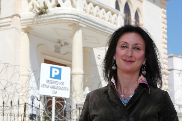 Daphne Caruana Galizia outside the Libyan Embassy in