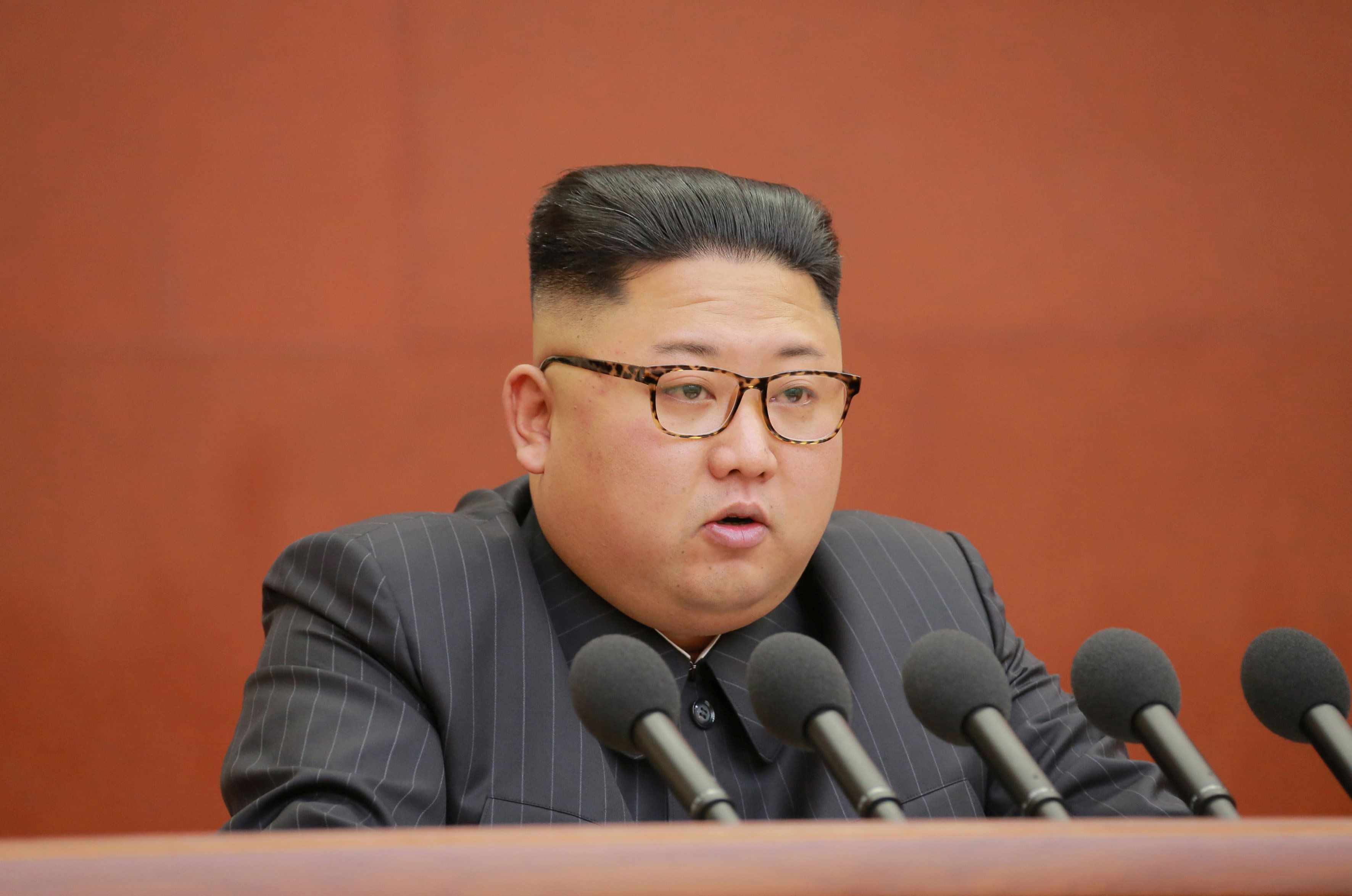 North Korean leader Kim Jong Un speaks during the Second Plenum of the 7th Central Committee of the Workers' Party of Korea (WPK) at the Kumsusan Palace of the Sun, in this undated photo released by North Korea's Korean Central News Agency (KCNA) in Pyongyang October 8, 2017. KCNA/via REUTERS. ATTENTION EDITORS - THIS IMAGE WAS PROVIDED BY A THIRD PARTY. REUTERS IS UNABLE TO INDEPENDENTLY VERIFY THIS IMAGE. NO THIRD PARTY SALES. SOUTH KOREA OUT.