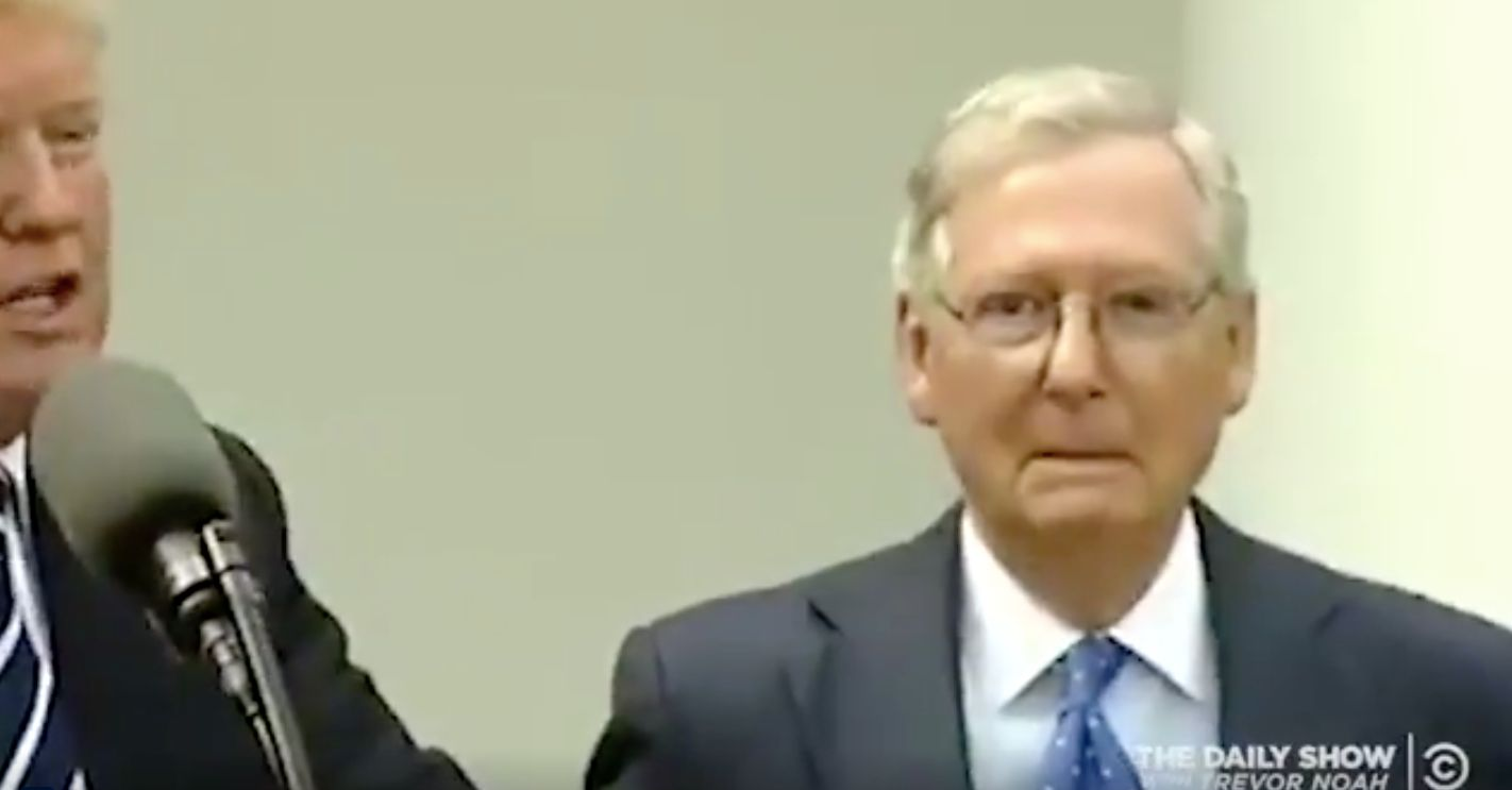 Senate Majority Leader Mitch McConnell appeared alongside President Donald Trump at a news conference Monday.