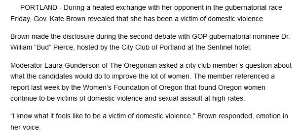 "Source: ""Governor says she was victim of domestic violence,"" <em>East Oregonian</em>, September 30, 2016, <a rel=""nofollow"" h"