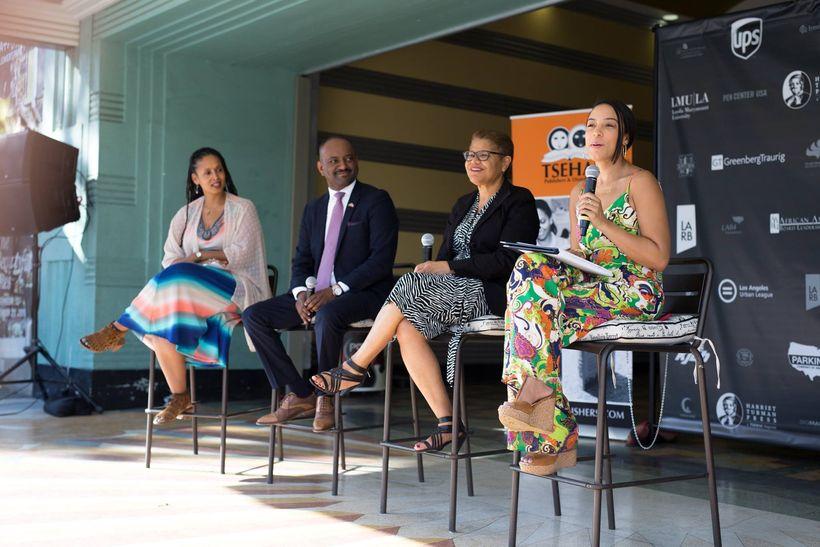 """Shonda Buchanan, Elias Wondimu, Congressmember Karen Bass, and Angela Rye during a panel discussion on """"Harriet Tubman P"""