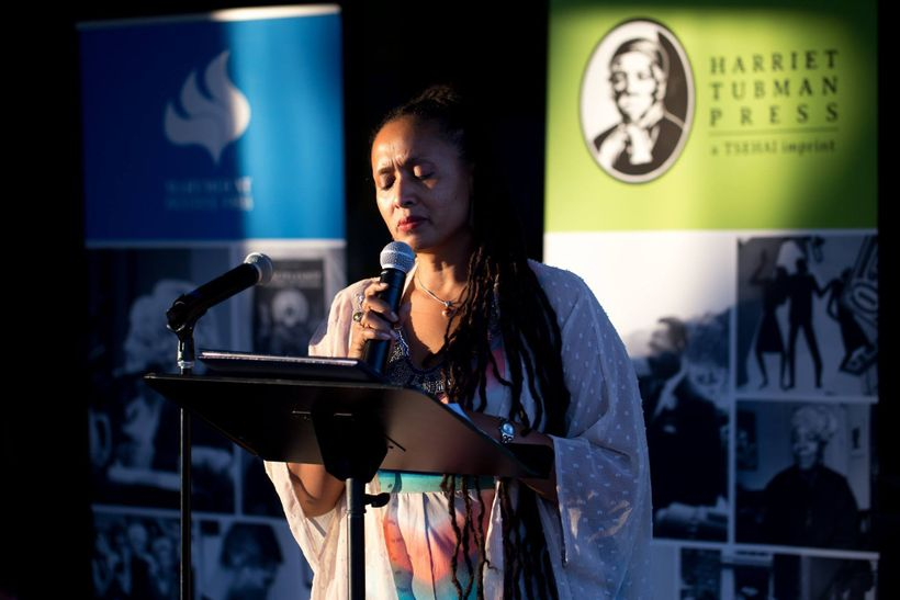 Editor for Harriet Tubman Press, Shonda Buchanan speaks at the inaugural book launch of Harriet Tubman Press for Voices from