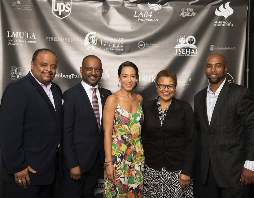 Roland Martin, Elias Wondimu,  Angela Rye, Congressmember Karen Bass, and Collin Hinds at the inaugural launch of Harriet Tub
