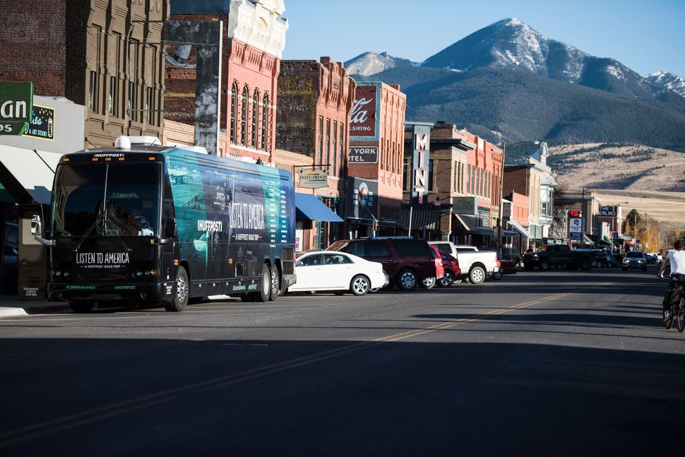 "The HuffPost bus stops in Livingston, Montana, for the ""Listen To America"" tour on Oct. 16, 2017."