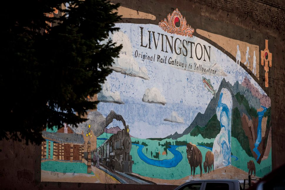 A mural depicts life in Livingston, which lies just north of Yellowstone National Park.