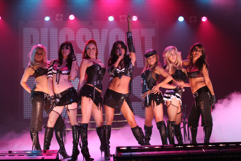 LAS VEGAS -- 'Tainted Love' Episode 17 -- Pictured: (l-r) Ashley Roberts, Kim Wyatt, Melody Thornton, Nicole Schevziwger, Jessica Sutta, Carmit Bachar, and Robin Antin of Pussycat Dolls -- Photo By: NBC/NBCU Photo Bank