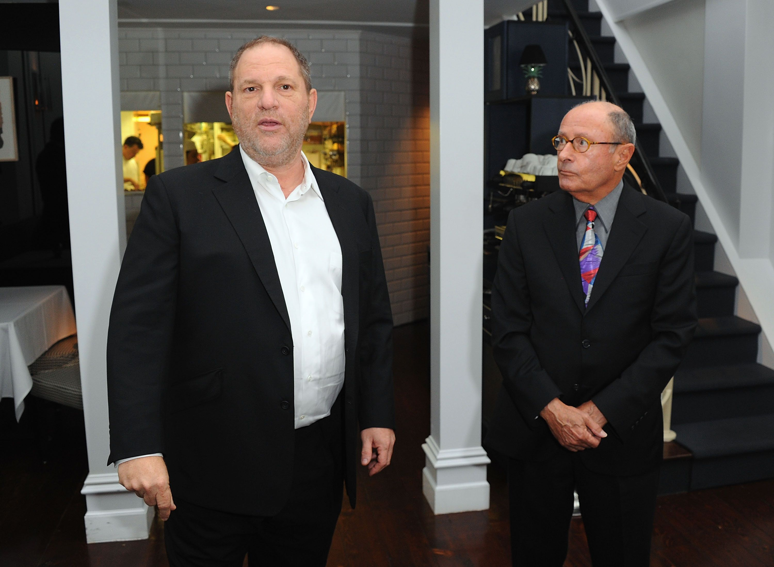 (L-R) Harvey Weinstein and author Peter Bart attend the launch party for Bart's new book 'Infamous Players' hosted by The Weinstein Company at Desmond's on April 25, 2011 in New York City. (Photo by Andrew H. Walker/WireImage)