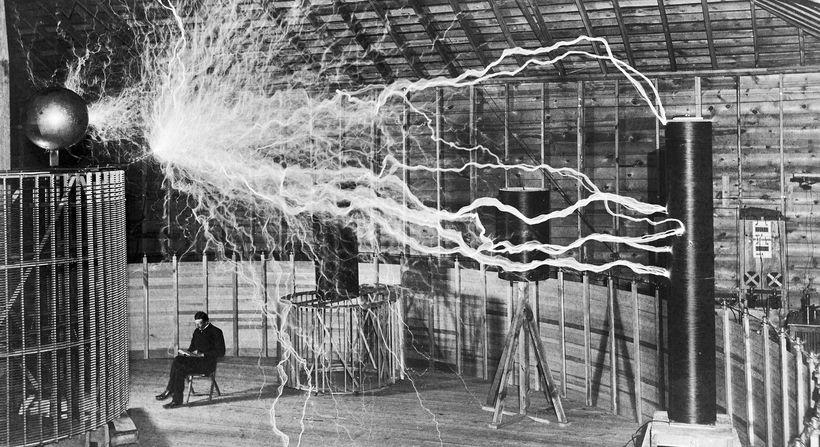 Tesla in his lab, double exposure photo