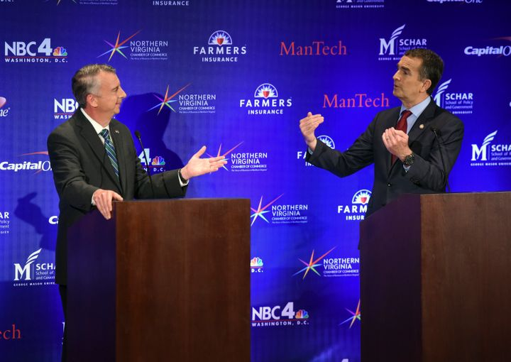 A gubernatorial debate takes place between Republican candidate Ed Gillespie, left, and Democratic Lt. Gov. Ralph Northam on