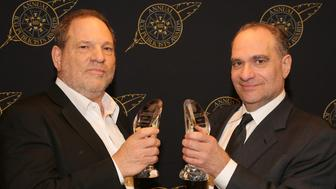 BEVERLY HILLS, CA - FEBRUARY 20:  Harvey Weinstein (L) and Bob Weinstein pose with the Motion Picture Showmanship Award backstage at the 52nd Annual ICG Publicists Awards at The Beverly Hilton Hotel on February 20, 2015 in Beverly Hills, California.  (Photo by Mathew Imaging/WireImage)