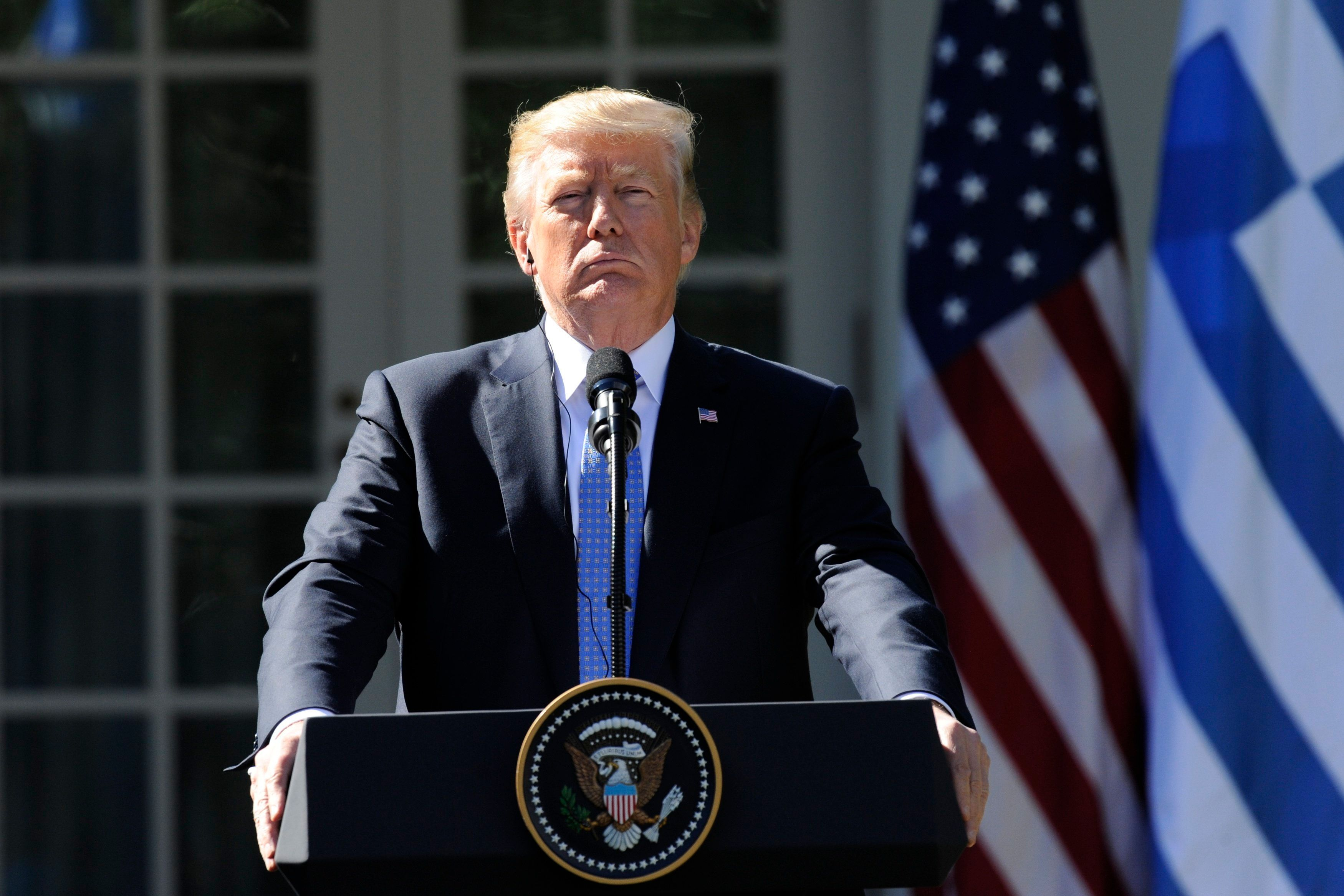 US President Donald Trump holds a joint press conference with Greek Prime Minister Alexis Tsipras in the Rose Garden at the White House in Washington, DC on October 17, 2017. / AFP PHOTO / Jason Connolly        (Photo credit should read JASON CONNOLLY/AFP/Getty Images)