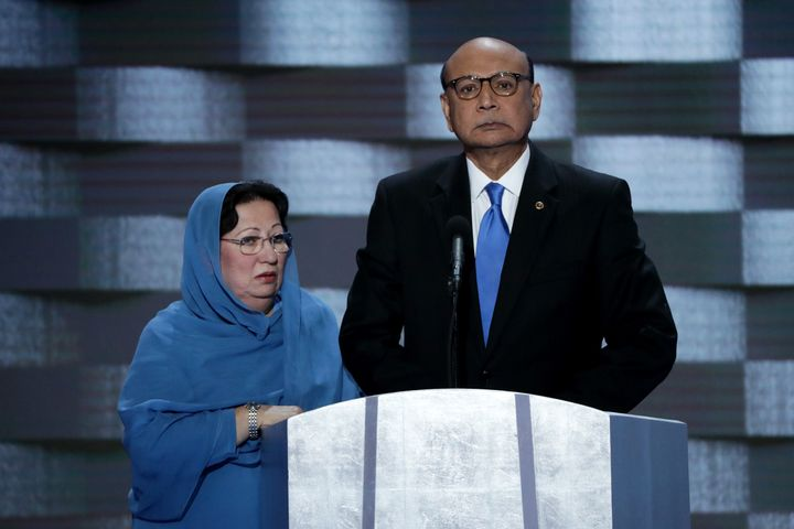 Khizr Khan, right, and Ghazala Khanappear at the Democratic National Convention in July 2016. Khizr Khan's speech spark