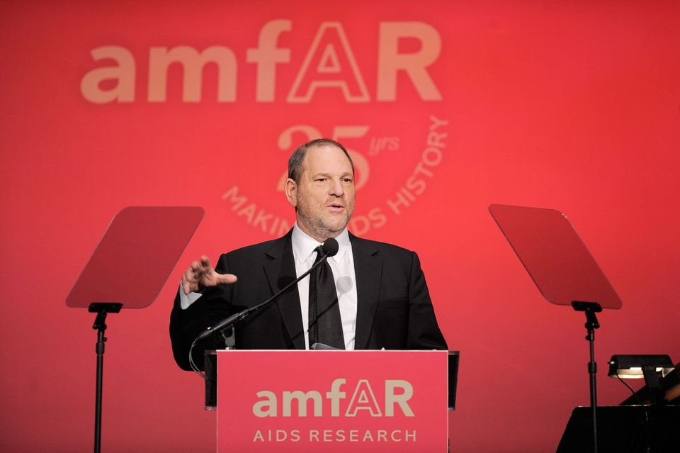 Producer Harvey Weinstein presents onstage at the amfAR New York Gala to kick off Fall 2011 Fashion Week at Cipriani Wall Str