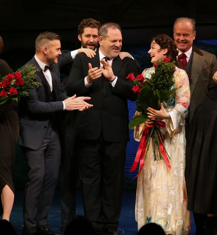 "Harvey Weinstein with actors and a composer during the opening night performance of ""Finding Neverland."" Weinstein"