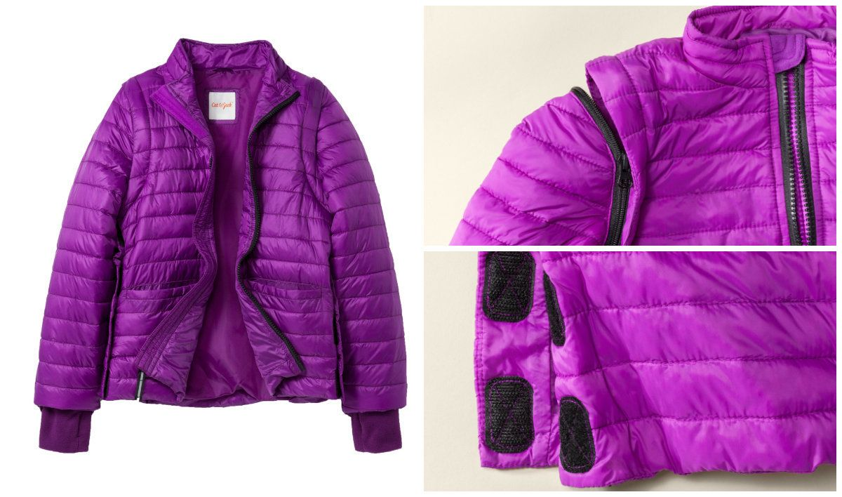 This puffer jacket has Velcro side seams, which makes it easier to put on and take off. This could be beneficial for kid