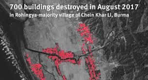 Satellite imagery shows several buildings burned in Burma's Rakhine State, Human Rights Watch revealed Sept 2.