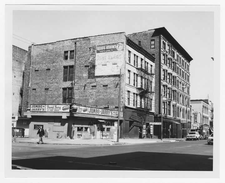 <p>Albert Friedman's hot dog stand at 500 N. Clark St. in the 1970s. A century ago, the area now known as River North was a cranking industrial sector referred to as 'Smokey Hollow' that had declined into skid row blight by the time Albert Friedman started his vocation in urban revitalization.</p>