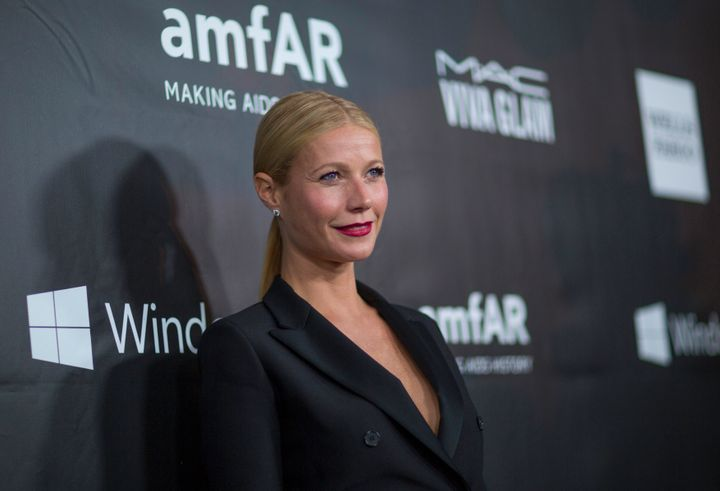 Actress Gwyneth Paltrow poses at the amfAR's fifth annual Inspiration Gala in Los Angeles, California, Oct. 29, 2014. Sh