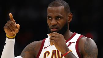 CLEVELAND, OH - OCTOBER 17:  LeBron James #23 of the Cleveland Cavaliers looks on while playing the Boston Celtics during the first half at Quicken Loans Arena on October 17, 2017 in Cleveland, Ohio. NOTE TO USER: User expressly acknowledges and agrees that, by downloading and or using this photograph, User is consenting to the terms and conditions of the Getty Images License Agreement.  (Photo by Gregory Shamus/Getty Images)