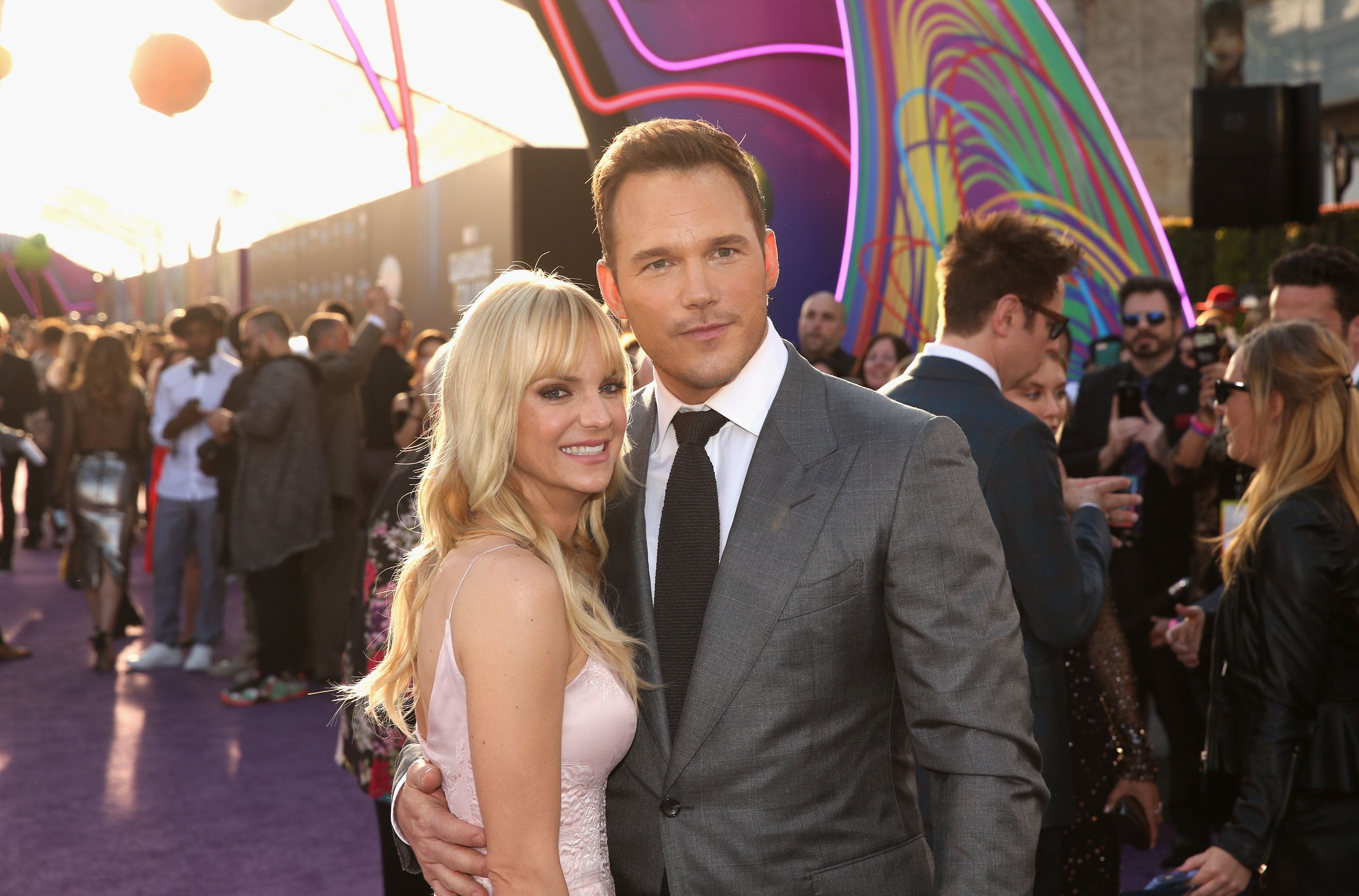 "HOLLYWOOD, CA - APRIL 19:  Actors Anna Faris (L) and Chris Pratt at The World Premiere of Marvel Studios' ""Guardians of the Galaxy Vol. 2."" at Dolby Theatre in Hollywood, CA April 19th, 2017  (Photo by Jesse Grant/Getty Images for Disney)"