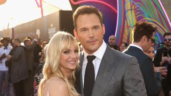 """HOLLYWOOD, CA - APRIL 19:  Actors Anna Faris (L) and Chris Pratt at The World Premiere of Marvel Studios' """"Guardians of the Galaxy Vol. 2."""" at Dolby Theatre in Hollywood, CA April 19th, 2017  (Photo by Jesse Grant/Getty Images for Disney)"""