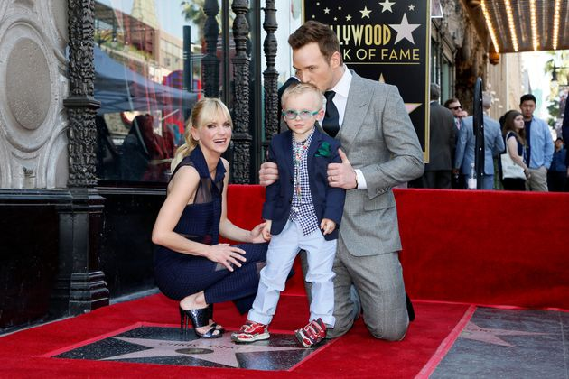 Chris Pratt, Anna Faris and their son at the actor's Hollywood Walk of Fame