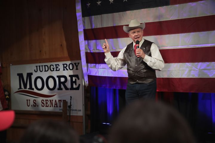 Roy Moore, the Republican candidate for Senate in Alabama,is shown at a campaign stop before the primary election that