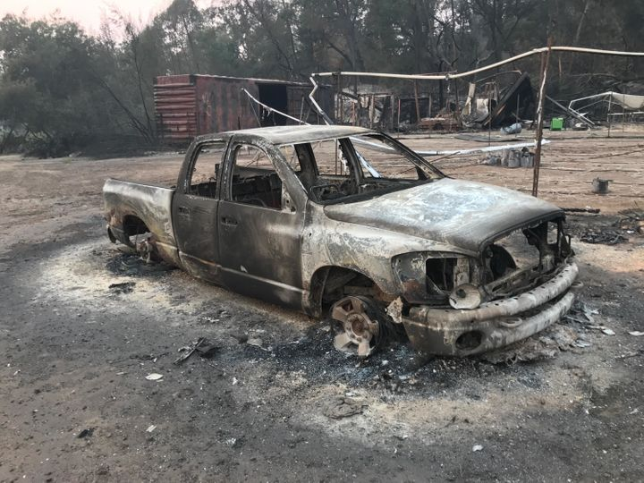 The charred remnants of a truck on Pearson's farm.