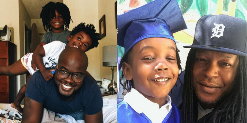 Glen Henry (L) with his two sons Theo and Uriah, and Shaka Senghor (R) with his son