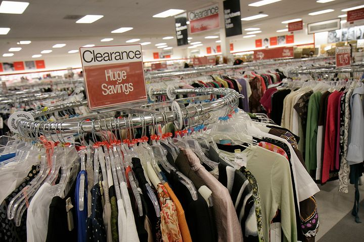 A clearance clothing rack at T.J.Maxx in Miami.