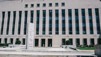 WASHINGTON, DC - JUNE 28:  The E. Barrett Prettyman United States Courthouse in Washington D.C. on Saturday, June 28, 2014. Ahmed Abu Khattala, a Libyan, thought to be responsible for the 2012 terrorist attacks in Benghazi is being held in federal law enforcement custody. (Photo by Greg Kahn/Getty Images)