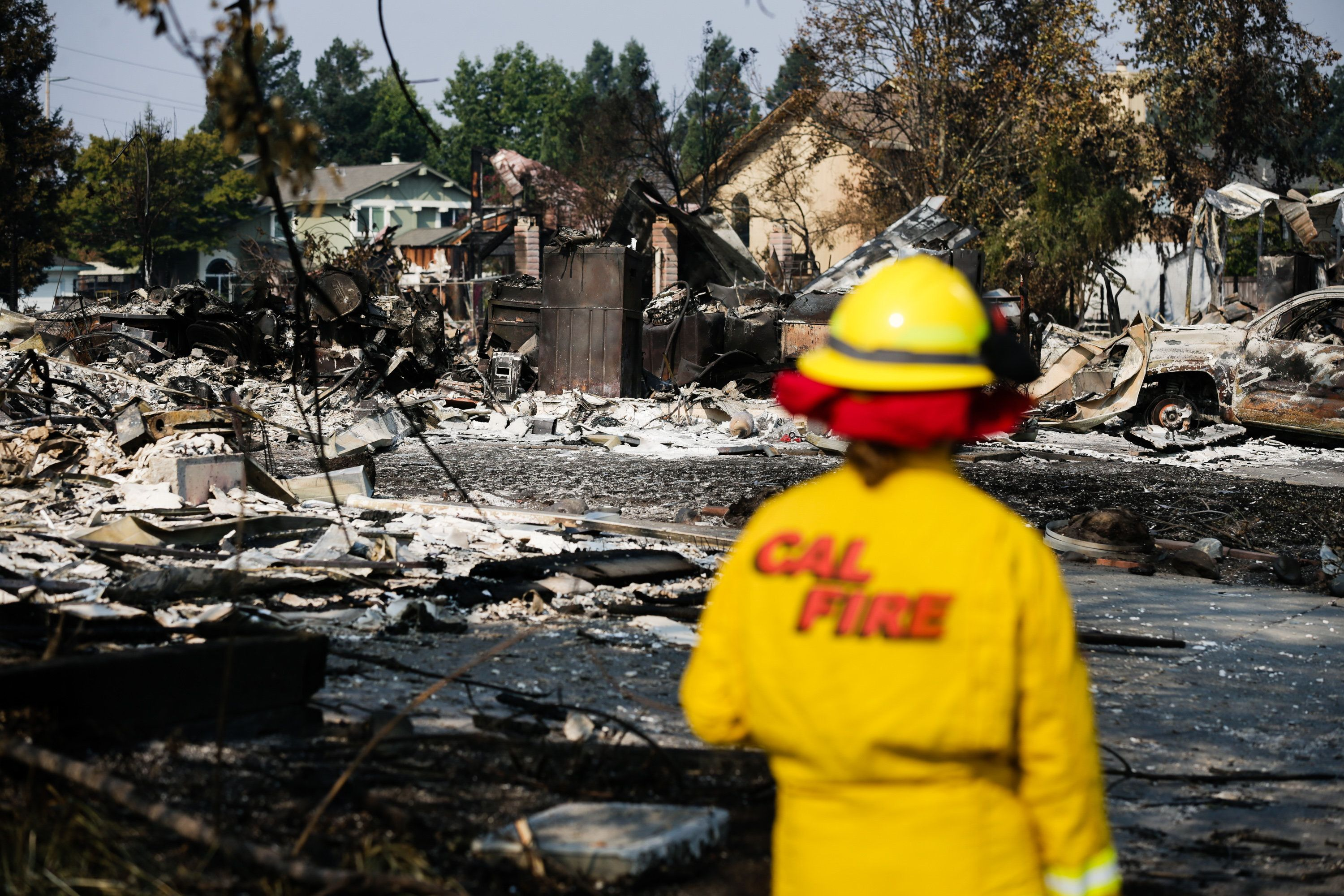 SANTA ROSA, CA - OCTOBER 13: A Cal Fire employee surveys damage in the Coffey Park neighborhood caused by the Tubbs Fire on October 13, 2017 in Santa Rosa, California. Twenty four people have died in wildfires that have burned tens of thousands of acres and destroyed over 3,500 homes and businesses in several Northern California counties.  (Photo by Elijah Nouvelage/Getty Images)